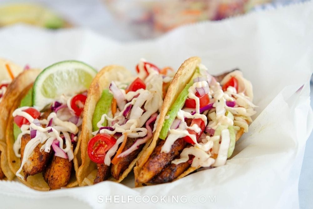 blackened salmon tacos with slaw, from Shelf Cooking