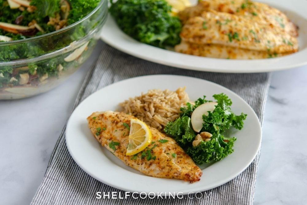 tilapia with rice and a salad, from Shelf Cooking