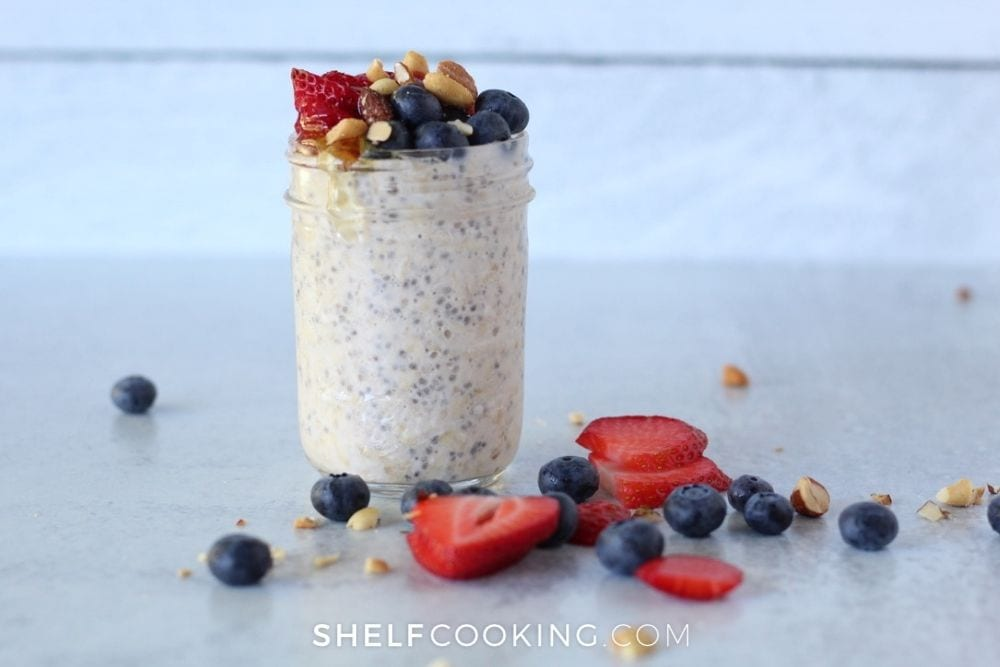 overnight oats made with yogurt, from Shelf Cooking