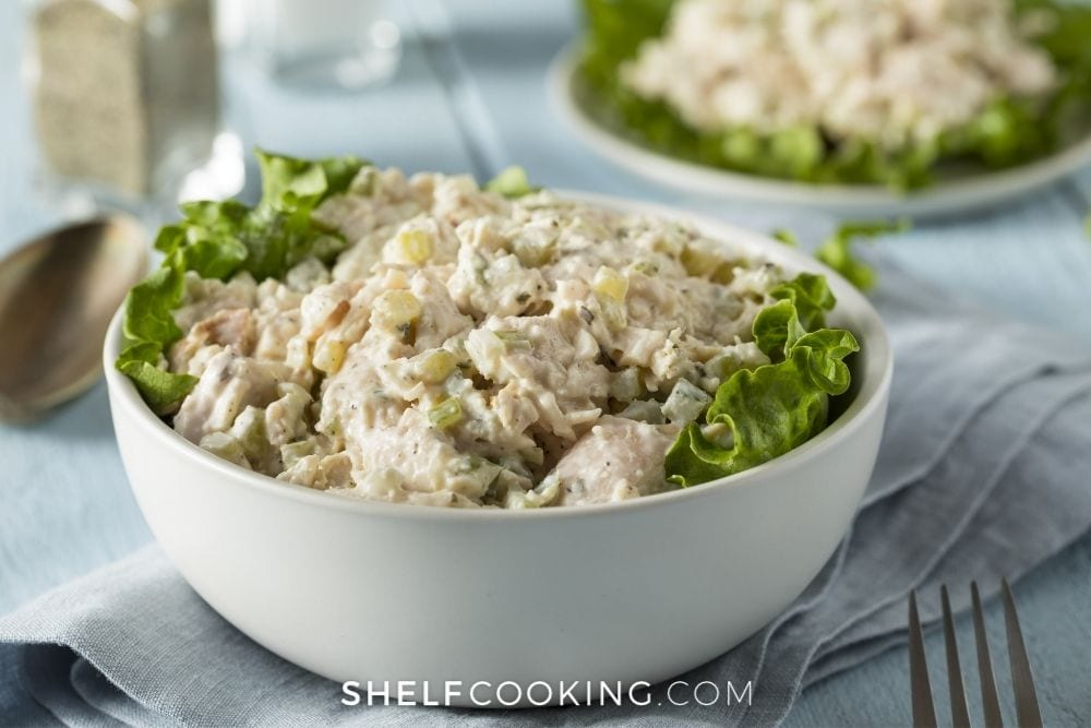 chicken salad made with yogurt, from Shelf Cooking