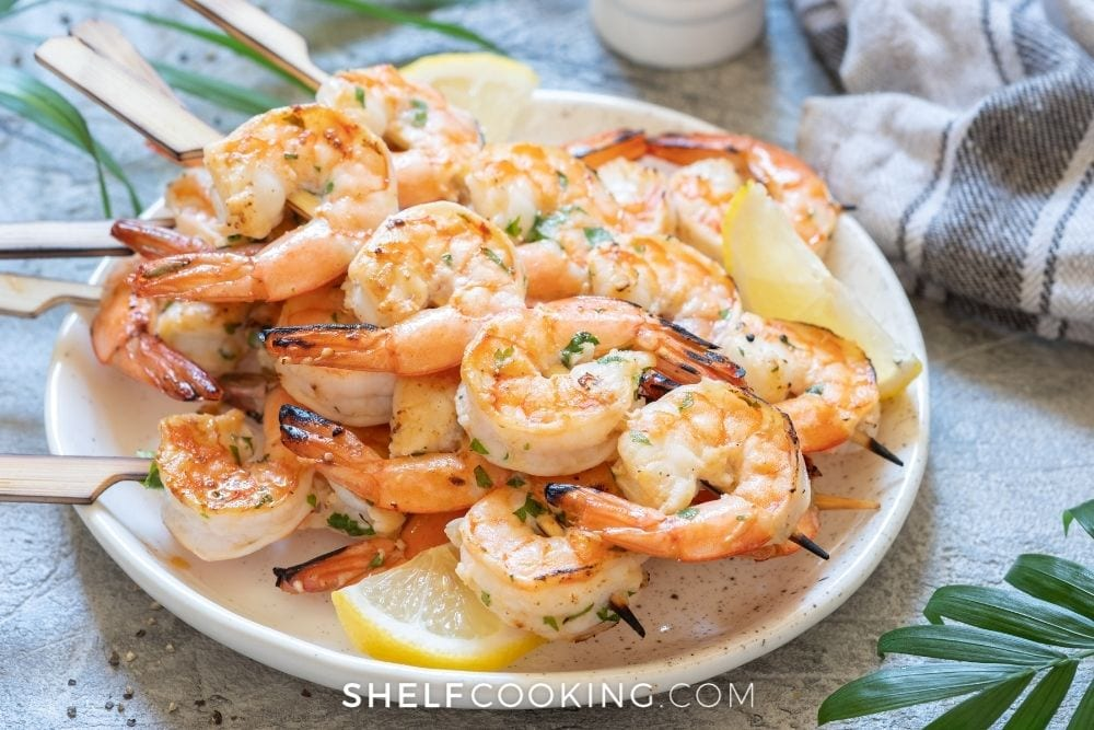 shrimp on wooden kabobs for grill, from Shelf Cooking