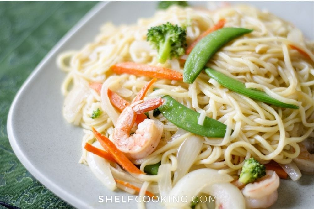 Plate of noodles and stir fry veggies from Shelf Cooking.