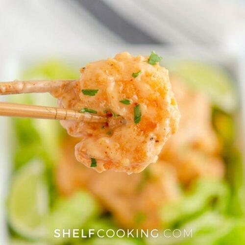 homemade bang bang shrimp close up, from Shelf Cooking