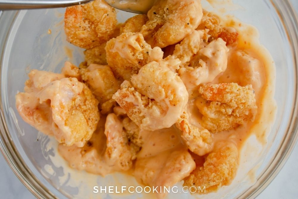 crispy shrimp in glass bowl, from Shelf Cooking