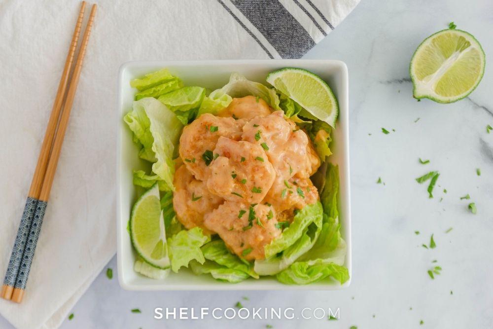 bang bang shrimp over lettuce, from Shelf Cooking