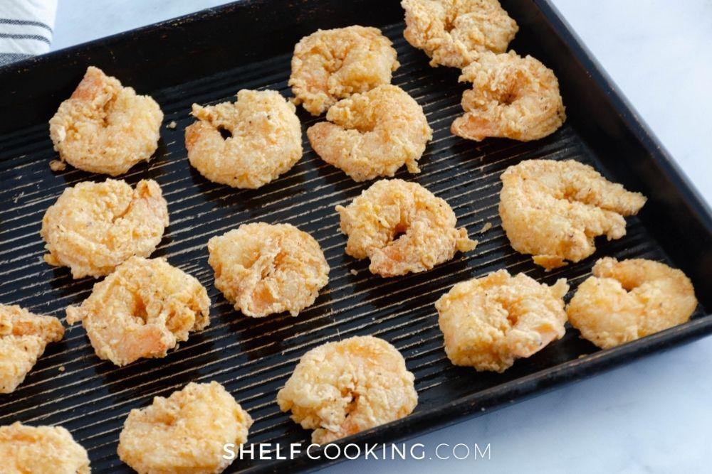 fried shrimp on griddle, from Shelf Cooking