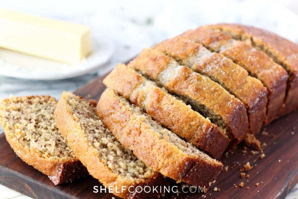 Banana bread slices on the counter from Shelf Cooking.