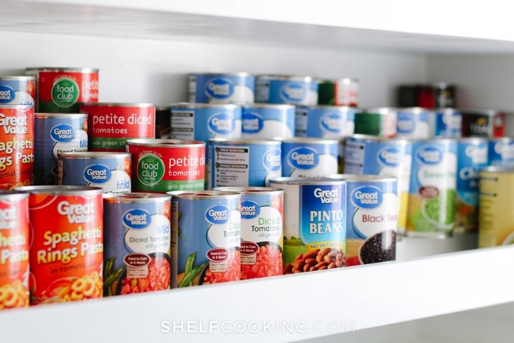 organized stacked canned goods, from Shelf Cooking