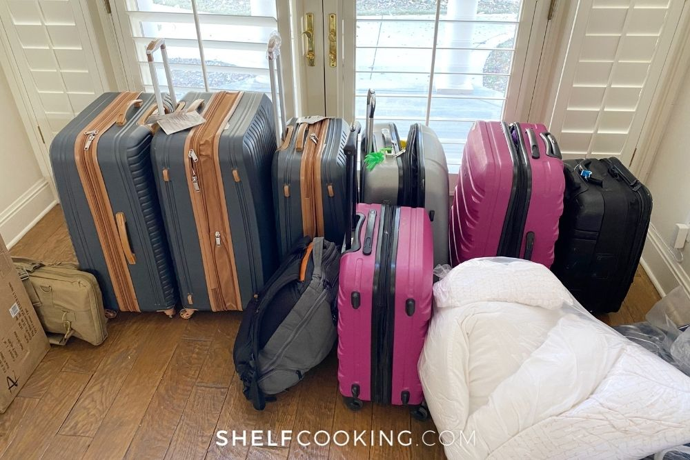 using luggage to store food, from Shelf Cooking
