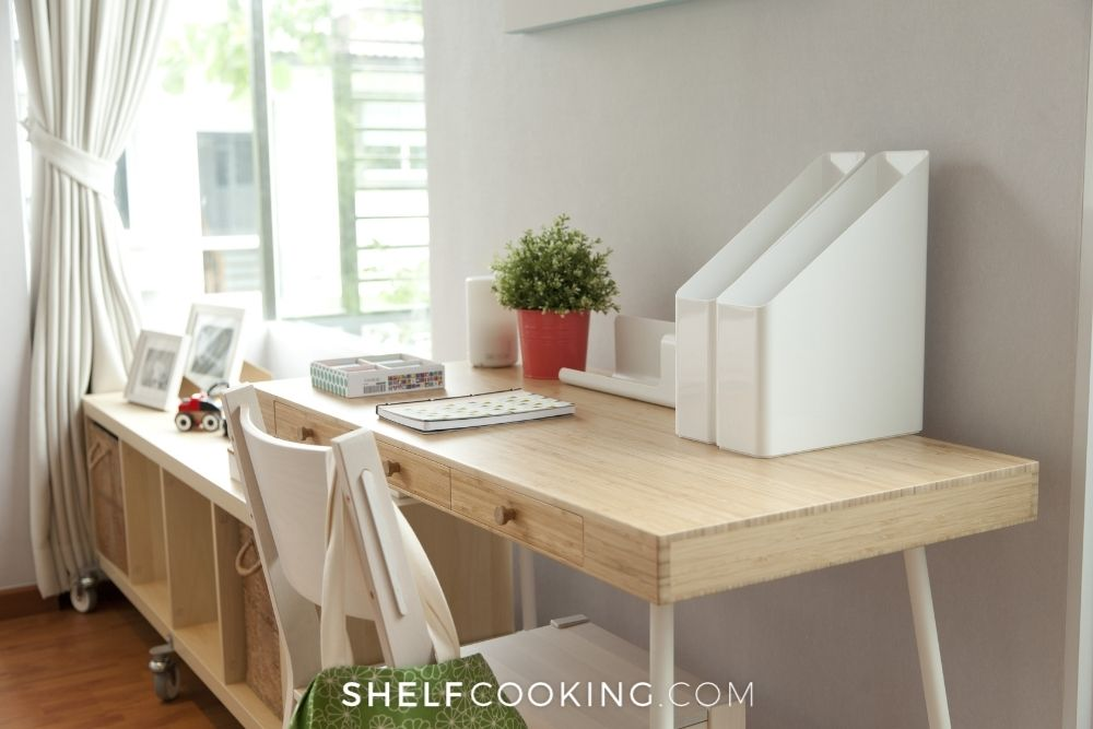 organized home office, from Shelf Cooking