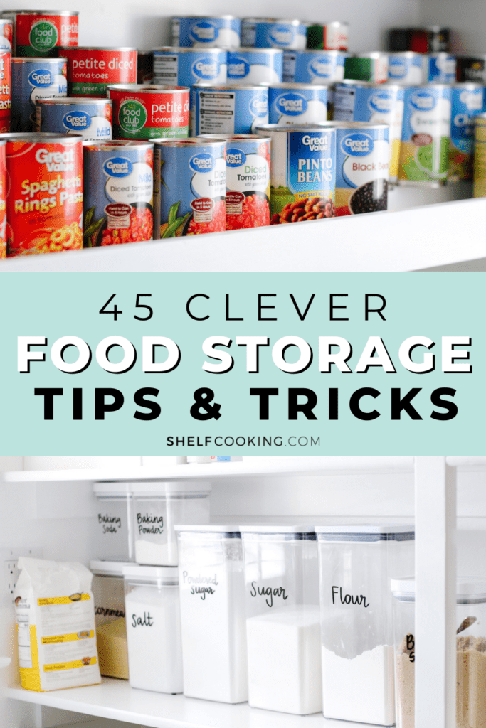Cans and canisters in an organized pantry from Shelf Cooking.
