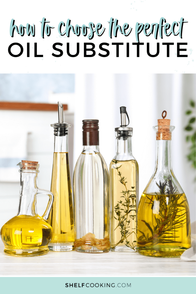 Types of cooking oil in glass bottles from Shelf Cooking.